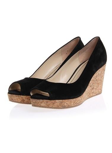 Cotton Bar Dolgu Topuk Düz Kadın Ayakkabı Siyah